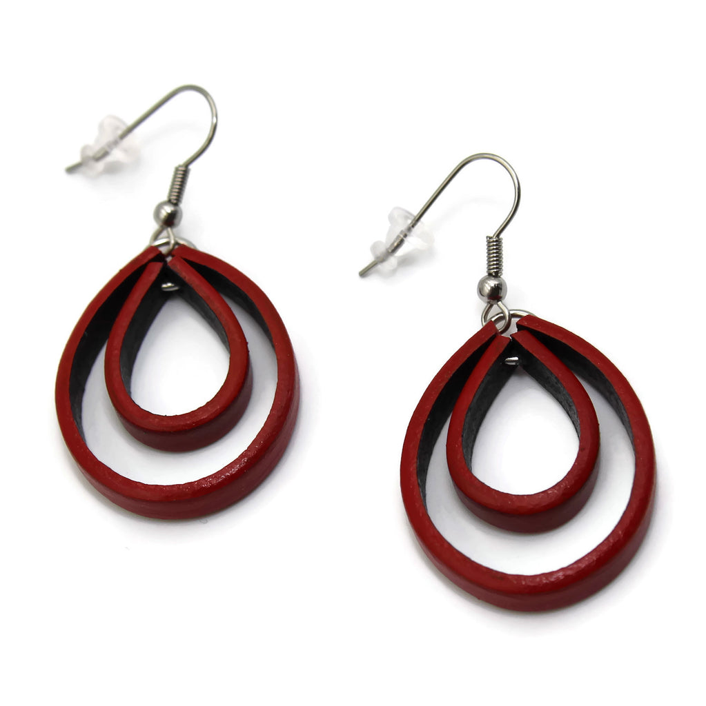 Double Loop Leather Earrings - YOU PICK THE COLOR