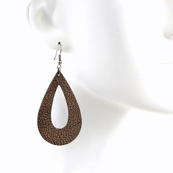 Hollow Teardrop Genuine Leather Earrings - Color Options