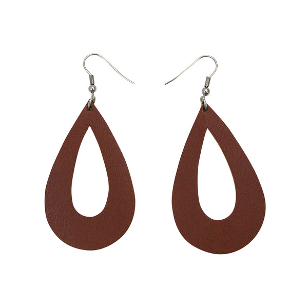 Arthlin leather earrings teardrop shape, cognac brown