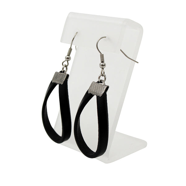 Black Leather Hoops Earrings