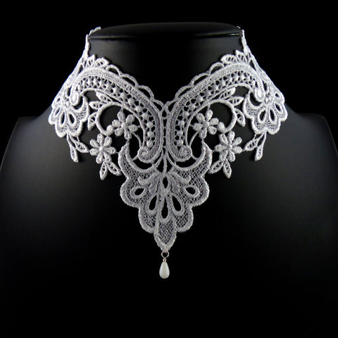 white Victorian lace choker with white teardrop bead accent, arthlin jewelry handmade in Maine