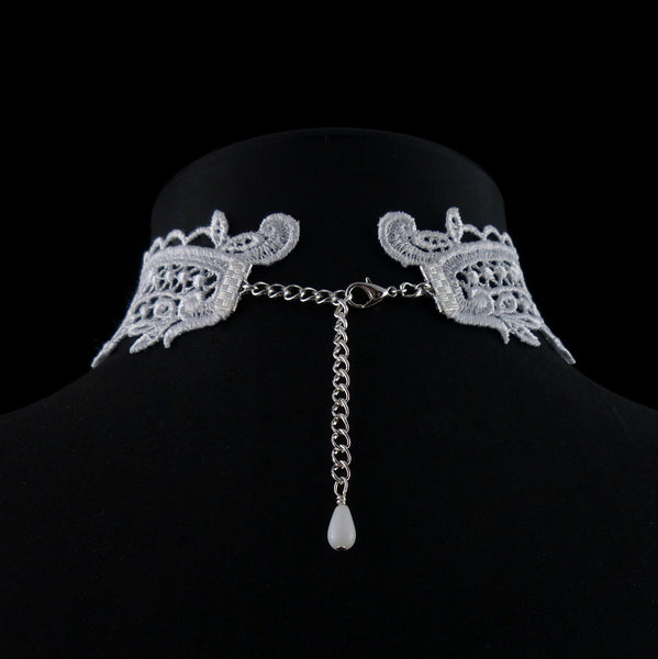 rear view white Victorian lace choker, adjustable length clasp, white beaded accent, arthlin jewelry