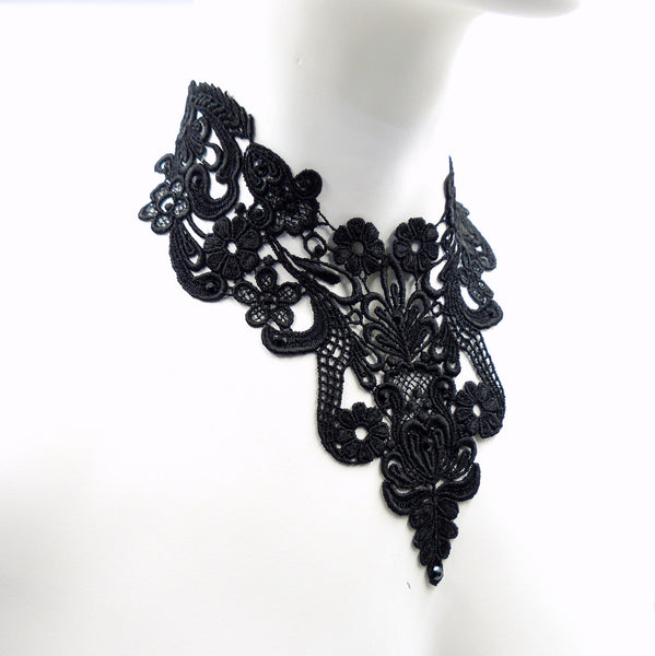 side view of black Victorian floral lace bib choker made in maine by arthlin jewelry