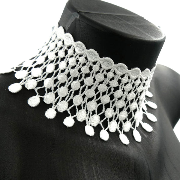white beaded mesh choker side view made in USA arthlin jewlery