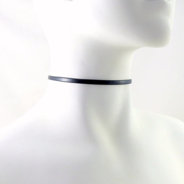 side view narrow leather choker by arthlin jewelry llc on white mannequin