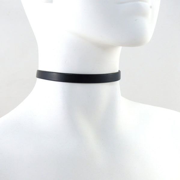 black leather choker necklace by arthlin jewelry for women made in usa