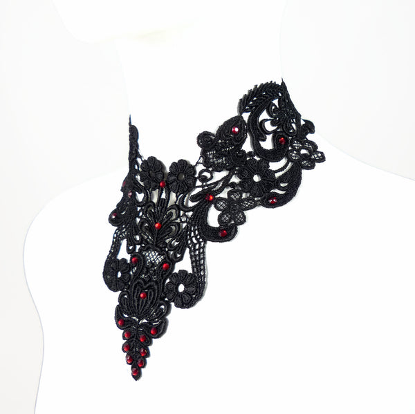 sideview of black victorian lace collar choker red rhinestone detailing arthlin jewelry