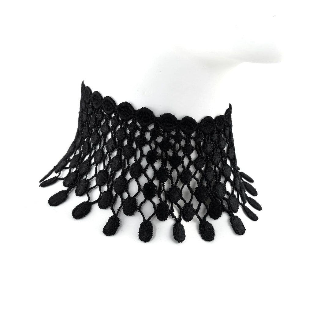 wide black lace beaded mesh choker made in maine by arthlin jewelry