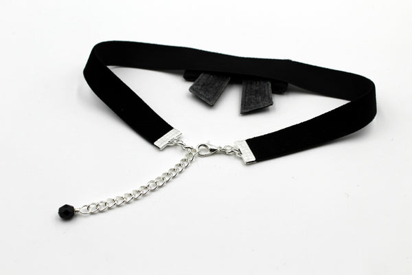 black leather choker with black sparkly bow extendable clasp with black glass bead accent handmade in USA by arthlin Jewelry