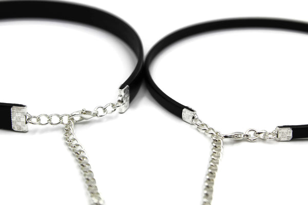 pair of narrow black leather chokers silver extendable lobster claw clasps arthlin jewelry made in Maine