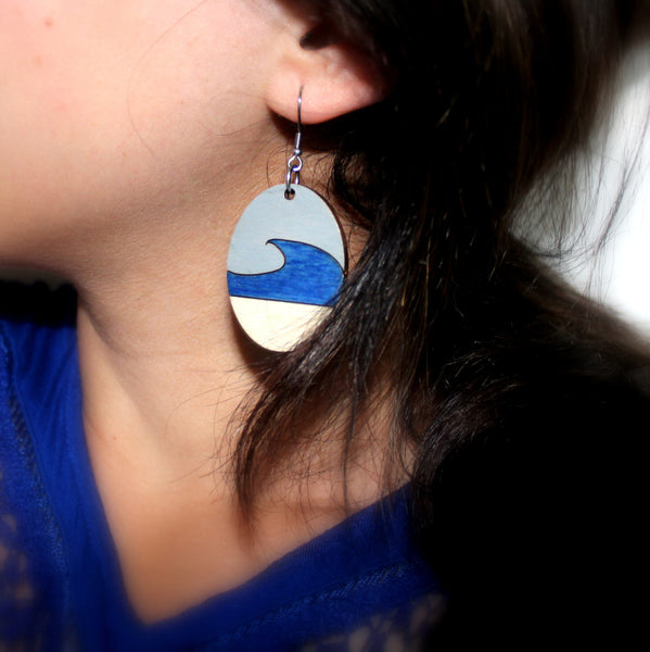 Handpainted Wooden Earrings - Beach