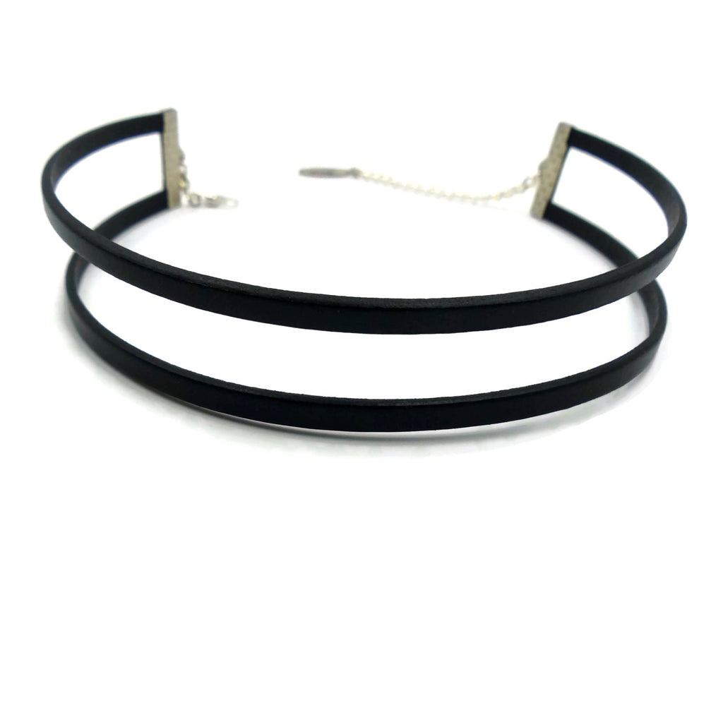 double stranded leather choker, with adjustable length clasp, handmade in maine by arthlin jewelry