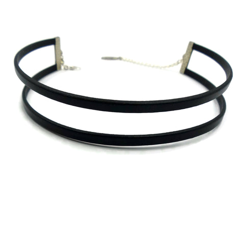 Double Strands Leather Choker