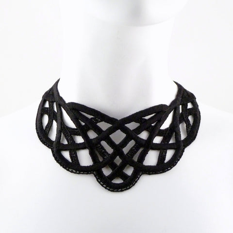 black embroidered choker collar celtic knot pattern arthlin jewelry llc