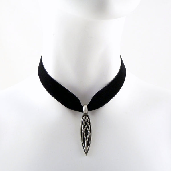 black velvet choker with celtic teardrop pendant made in maine arthlin jewelry