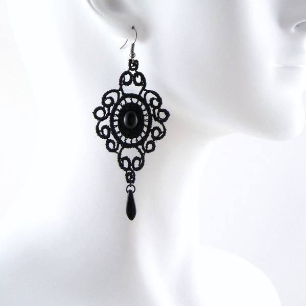 black lace medallion and scrolls earring adorned with black bead accent, arthlin jewelry