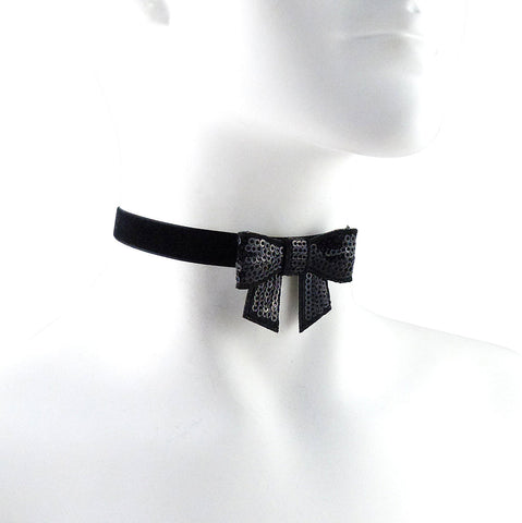black velvet choker with sparkly black bow in center arthlin jewelry llc made in maine