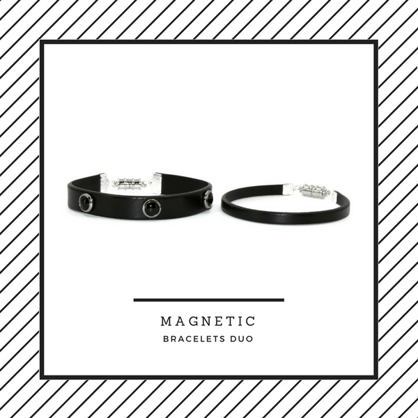 pair of 10mm and 5mm black leather bracelets. 10 mm adorned with jet cabochon studs, magnetic clasp, arthlin jewelry