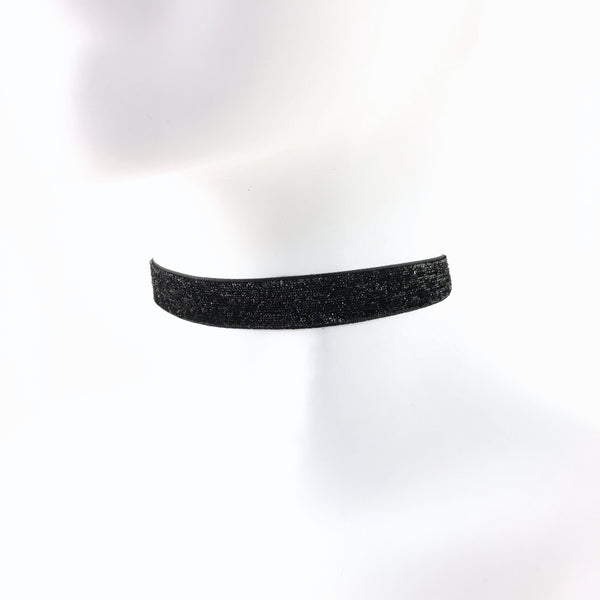 side view of shimmery black choker arthlin jewelry handmade in maine