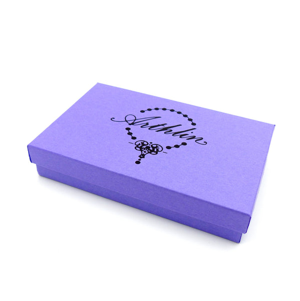 purple gift box for handmade jewelry from arthlin jewelry made in USA