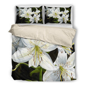 White Lilies- Duvet Cover Set(Black)