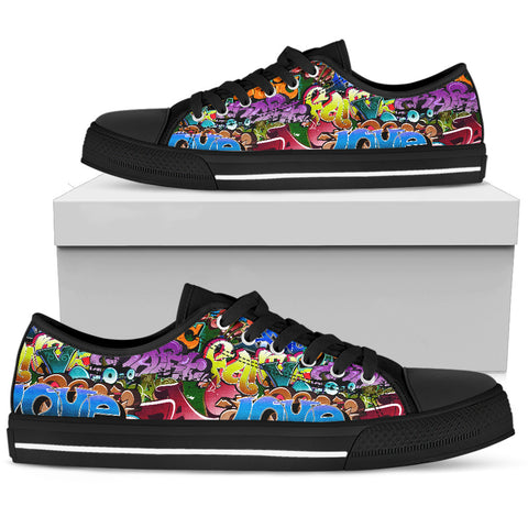 Image of Graffiti Art Words - Low Cut Canvas Shoes