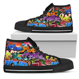 Graffiti Words Modern Art - High Top Canvas Shoes
