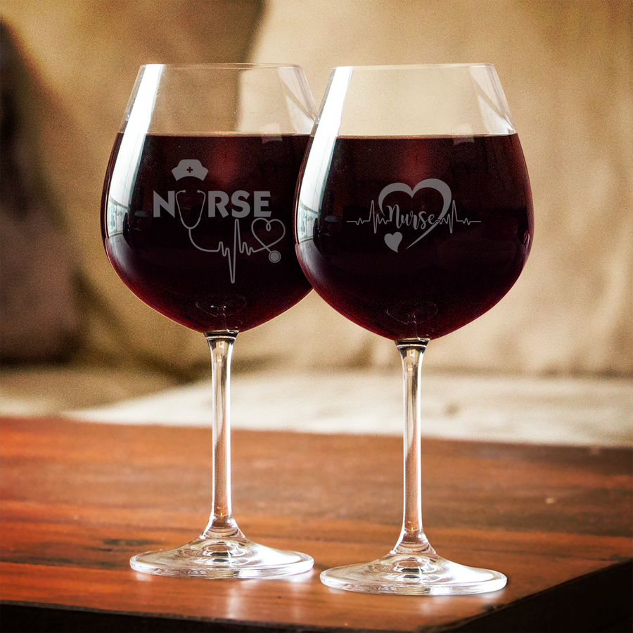 Custom Nurse Lifeline Red Wine Glass