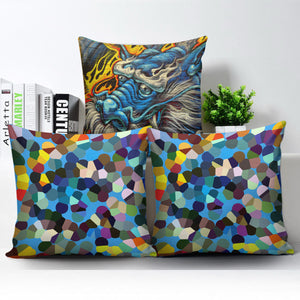 Graffiti Dragon Art Pillow Cover