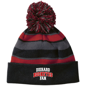 Buckeyes Holloway Striped Beanie with Pom