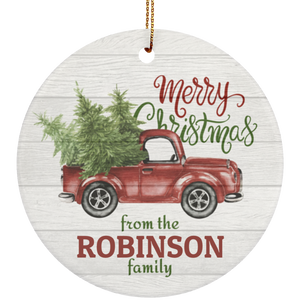 Personalized Bless-Our-Home This Christmas Ceramic Circle Ornament