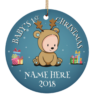 Personalized Baby First Christmas Ceramic Circle Ornament