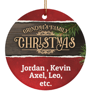 Personalized Gradma's Family Ceramic Circle Ornament