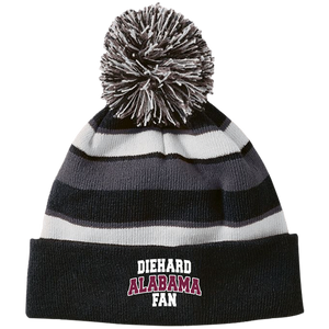 Alabama Embroidery Holloway Striped Beanie with Pom