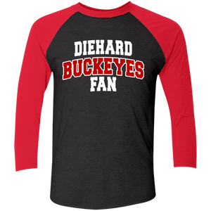 Buckeyes Next Level Tri-Blend 3/4 Sleeve Baseball Raglan T-Shirt
