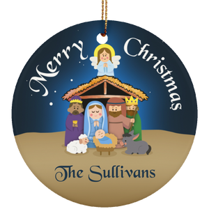 Personalized Manger Ceramic Circle Ornament