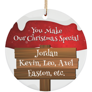 Personalized Christmas special Ceramic Circle Ornament