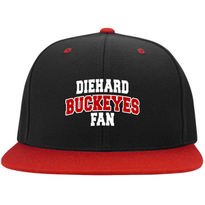 Buckeyes Sport-Tek Flat Bill High-Profile Snapback Hat