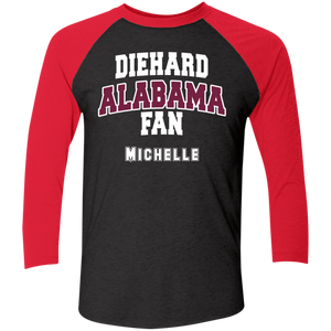 Alabama Personalized Tri-Blend 3/4 Sleeve Baseball Raglan T-Shirt