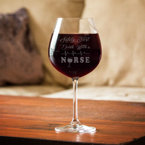 Image of Safety First Nurse Red Wine Glass