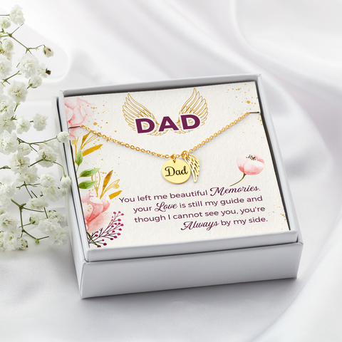 Dad Remembrance Necklace memorial gifts for loss of father With Beautiful Quote Card - 001