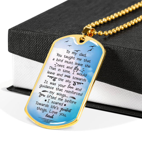 Father's Day Daughter To Father Personalized Gift Stainless Steel And 18K Gold Finished Necklace With Beautiful Quote.