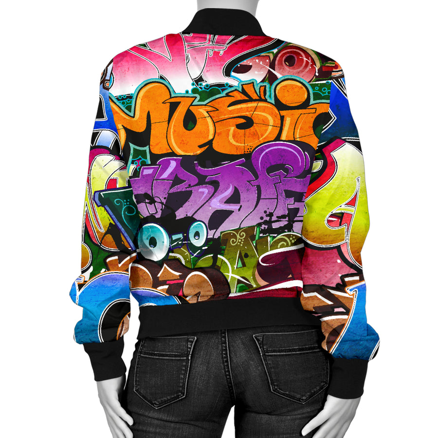 Women Bomber jacket- Graffiti Words Modern Art