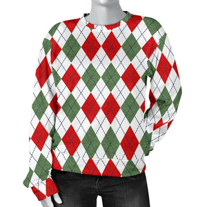 Argyle Plaid Pattern Women Sweater Christmas