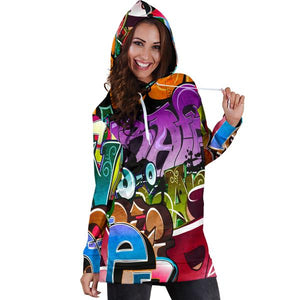 Graffiti Art Words Hoodie Dress Modern WallArt