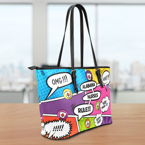 AL Comic Nurse Small Leather Tote Bag