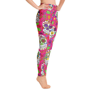 Yoga Leggings Pink Sugar Skull