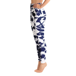 Yoga Leggings Blue and White Flowers