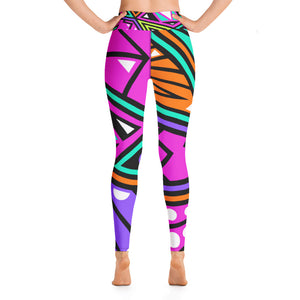 Yoga Leggings Neon Geometric Pattern