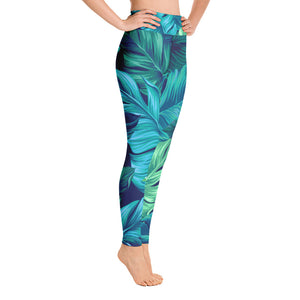 Yoga Leggings Blue and Green Leaves Art